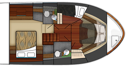 53 Coupe Cabin Plan View with Third Stateroom