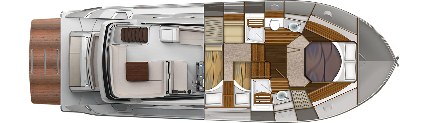 44 Flybridge Cabin Plan View